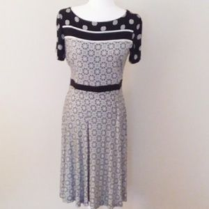 Ann Taylor Loft Black and White Geometric Dress